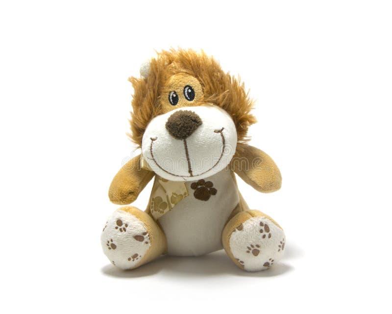 Jouet câlin de lion d'isolement sur le fond blanc photo stock