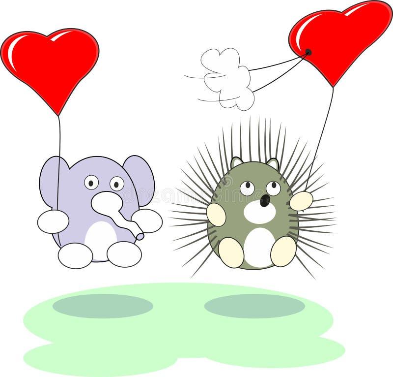 Jouet d'éléphant et de hérisson de dessin animé et coeur rouge images stock