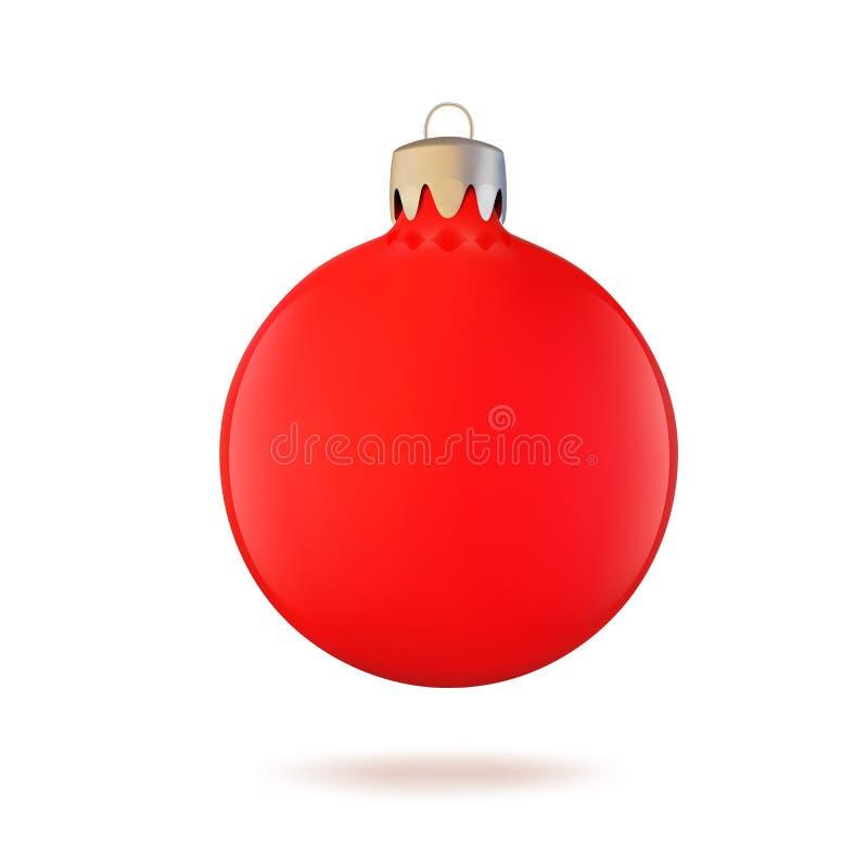 Jouet d'arbre de Noël, boule rouge de Noël pour la décoration et conception Illustration de vecteur illustration stock
