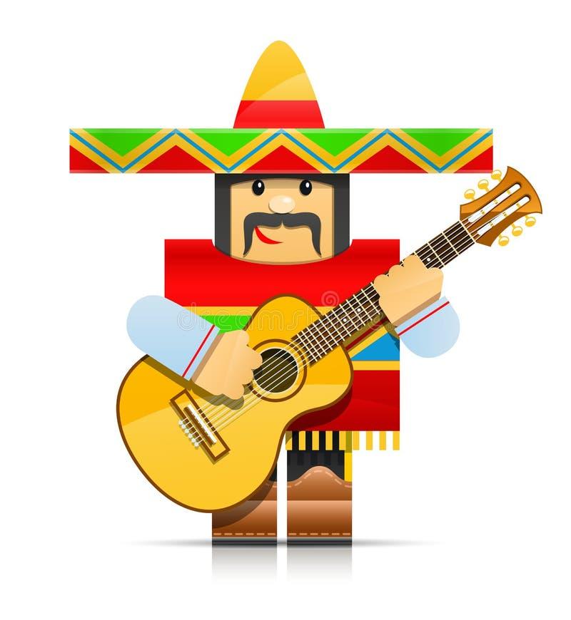 Jouet d'origami d'homme de Mexicano illustration stock