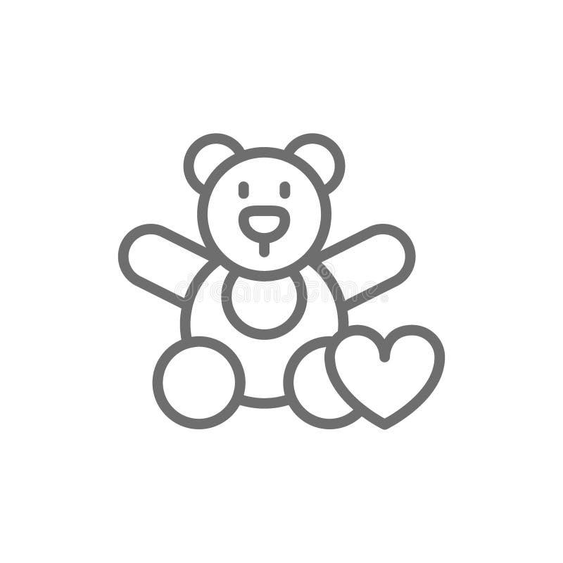 Jouet d'ours, donation aux enfants, offrant pour des orphelinats, ligne icône de charité illustration de vecteur