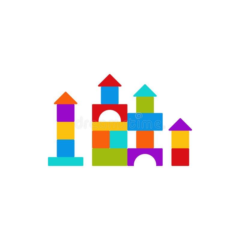 Jouet de bébé de cube dans la conception plate Illustration de dessin animé de vecteur illustration stock