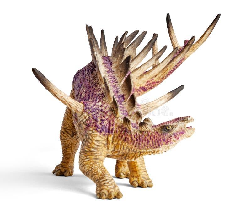 Jouet de dinosaure de Kentrosaurus d'isolement sur le fond blanc avec le chemin de coupure images stock