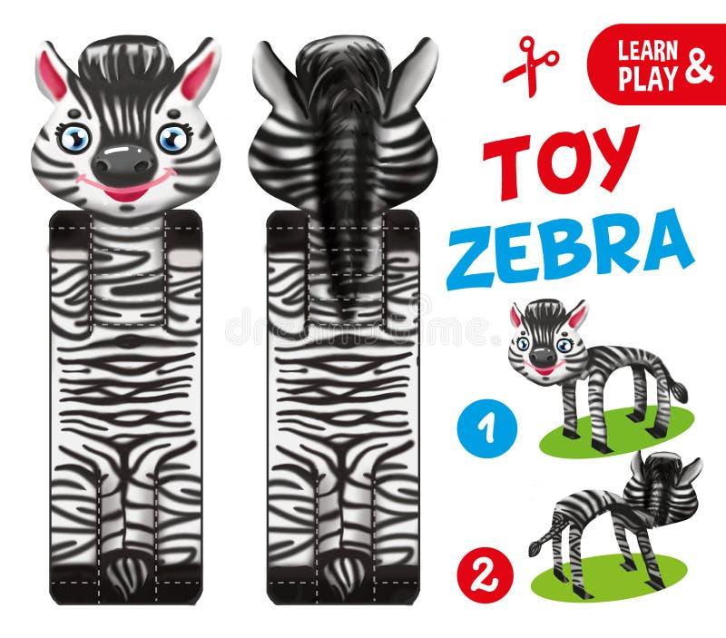 Jouet de papier de zèbre Jeu éducatif pour des enfants Coupez et collez le jouet illustration pour le magazine d'enfants Attracti illustration de vecteur