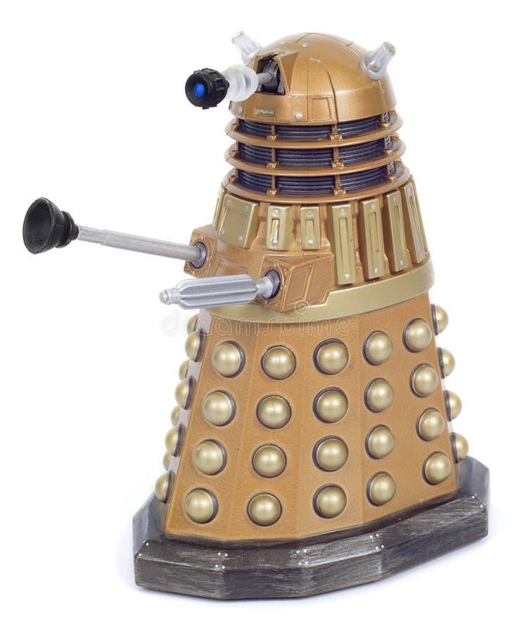 Jouet de robot de Dalek d'or photographie stock