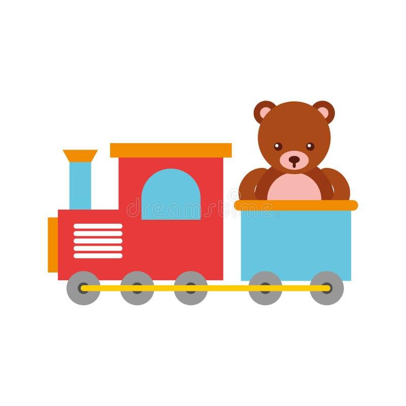 Jouet de train avec le nounours d'ours illustration stock