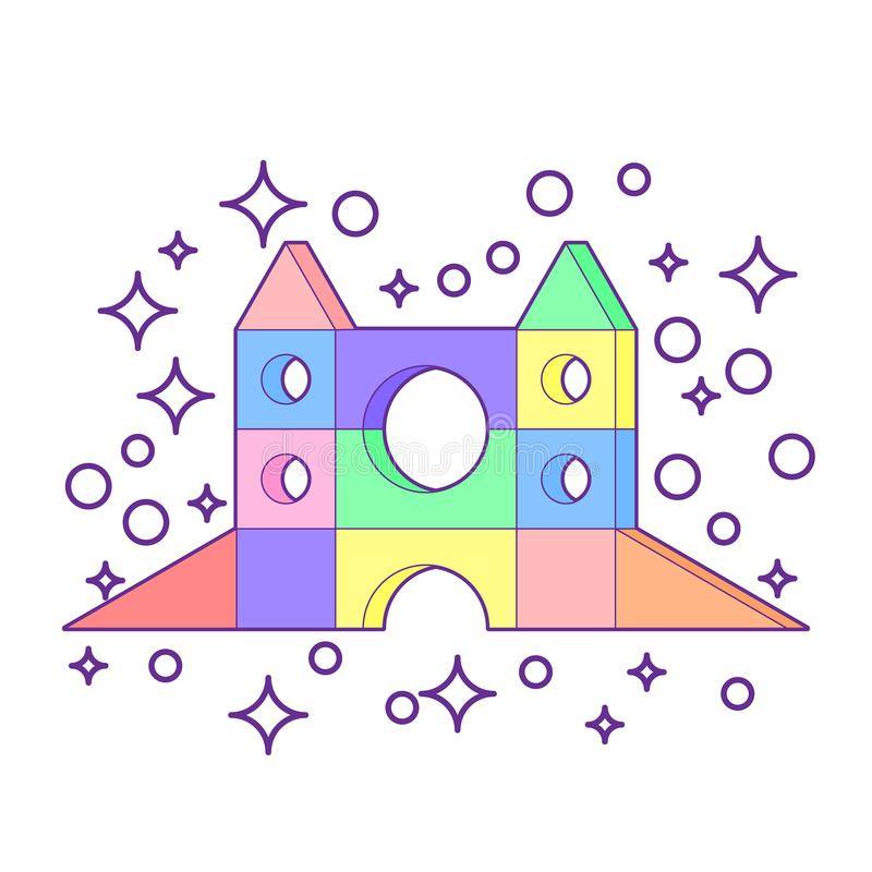 Jouet en bois coloré lumineux de blocs Tour du bâtiment des enfants de briques, château, maison Illustration de style de volume d illustration libre de droits