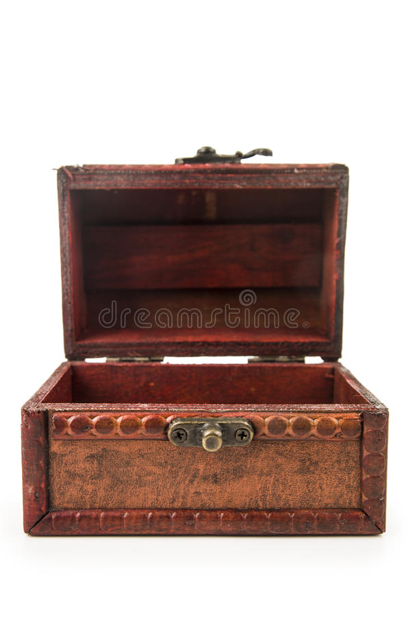 Jouet en bois de coffre au trésor de vintage images libres de droits