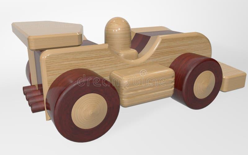 jouet en bois du rendu 3D emballant la voiture de sport images stock
