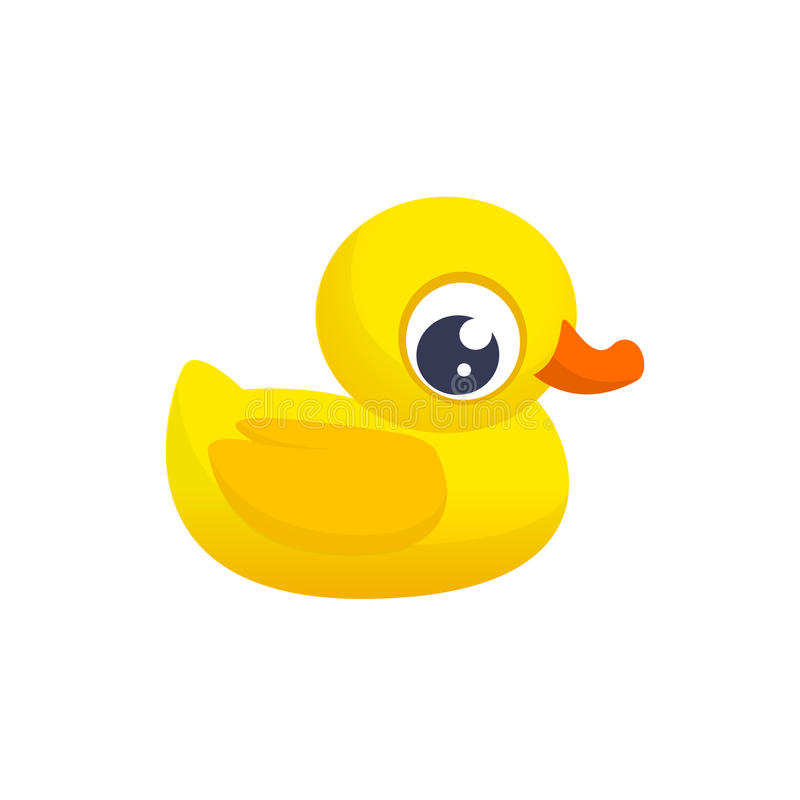 Jouet en caoutchouc de canard Icône plate de couleur de Minimalistic Symbole de pictogramme Illustration mignonne de vecteur de b illustration de vecteur