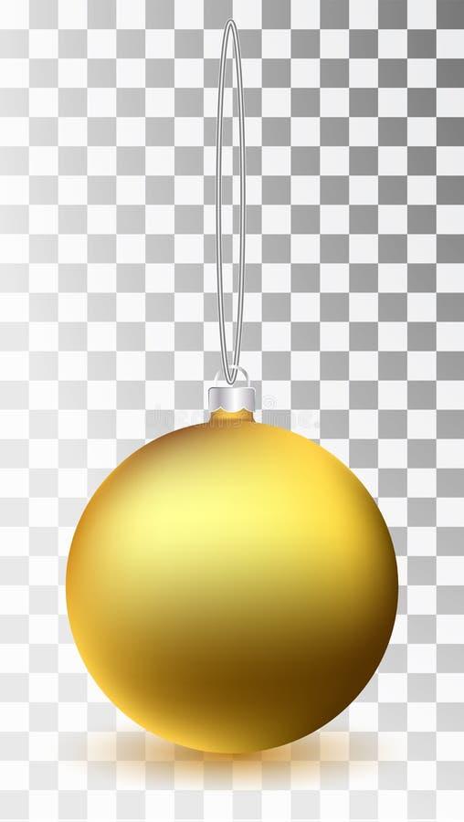 Jouet en verre d'or de Noël sur un fond transparent Décorations de Noël de bas Objet transparent de vektor pour la conception, mo illustration stock