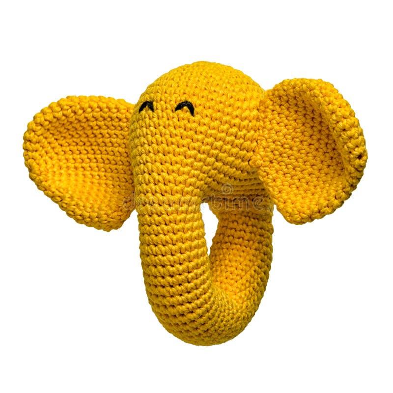 Jouet jaune à crochet d'éléphant d'isolement images libres de droits