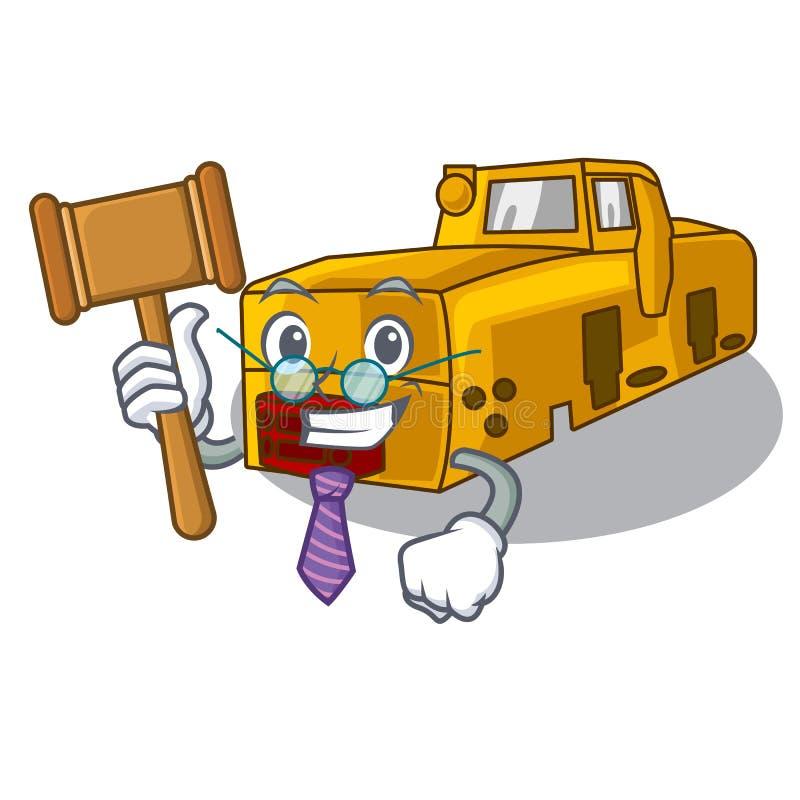 Jouet locomotif de bande dessinée de mine de juge au-dessus de table illustration libre de droits