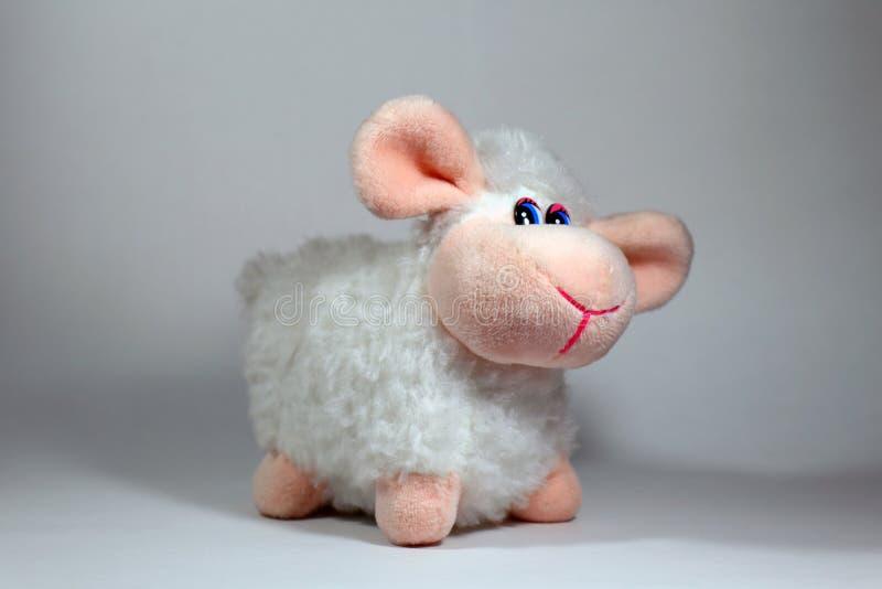 Jouet mignon de moutons d'isolement sur un fond blanc photographie stock