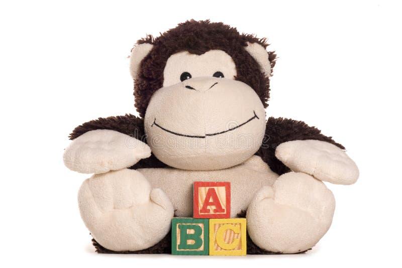 Jouet mou de singe effronté avec des blocs d'alphabet d'ABC photos libres de droits