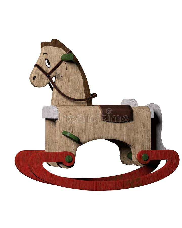 Jouet ouvré par main de cheval de basculage illustration libre de droits