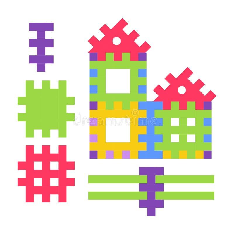 Jouet puéril composé de petits détails pour construire la maison illustration stock