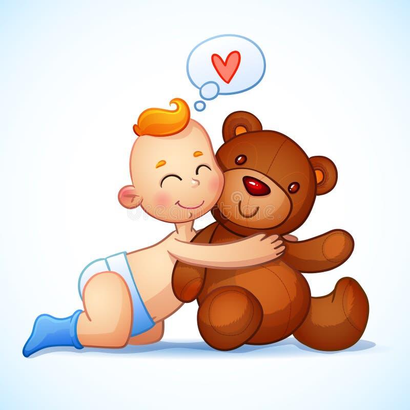 Jouet roux de Teddy Bear d'étreintes de bébé garçon sur un blanc illustration stock