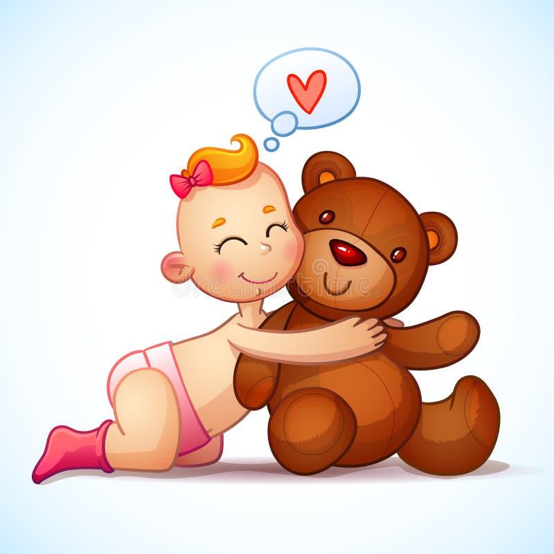 Jouet roux de Teddy Bear d'étreintes de bébé sur un blanc illustration stock
