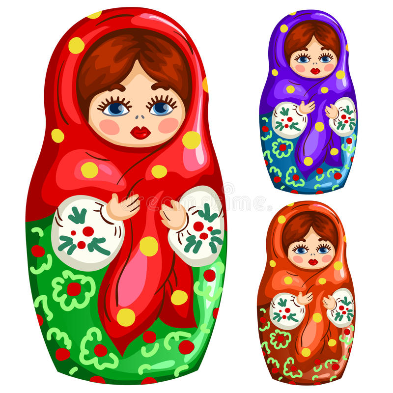 Jouet russe en bois traditionnel de matryoshka illustration de vecteur