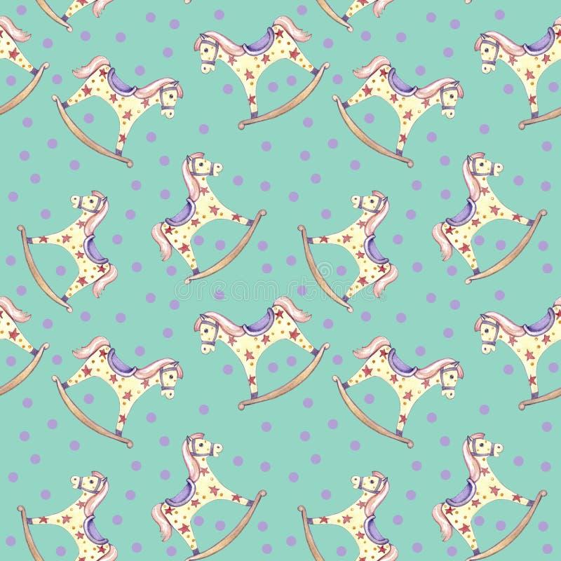 Jouet sans couture de bébé de cheval de basculage de modèle et cercle rose sur le fond vert illustration stock