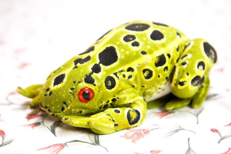 Jouets animaux de grenouille naturelle de style dans un tissu de conception florale photographie stock