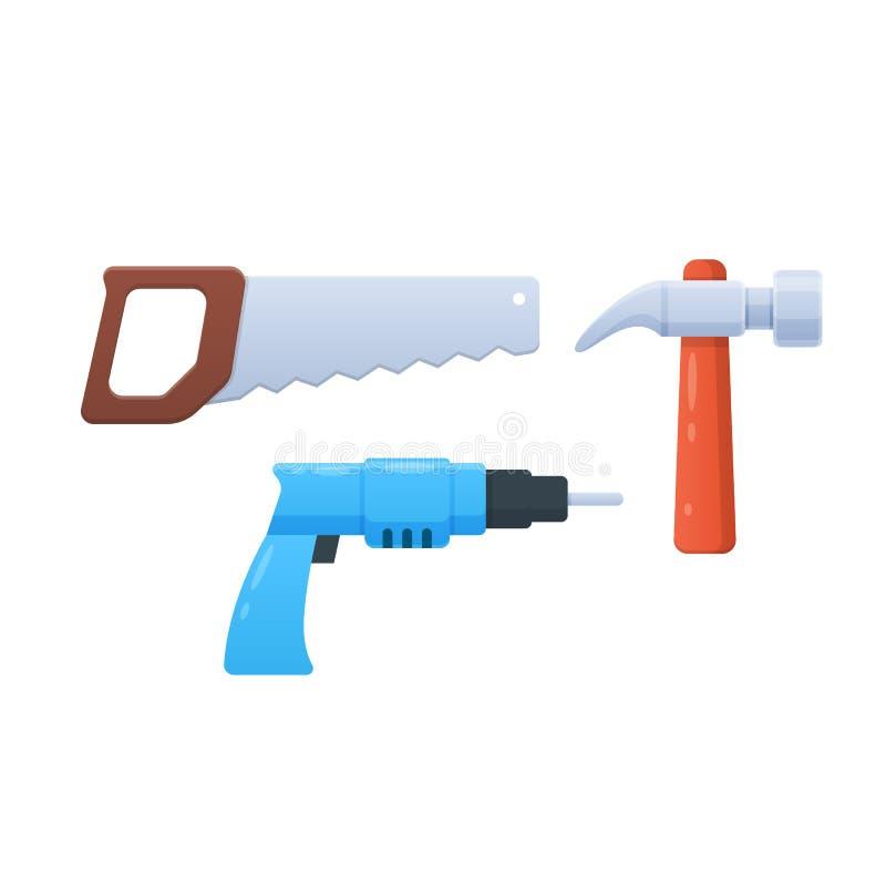 Jouets colorés des enfants s, outils, pièces, équipement, pour la réparation et la construction illustration de vecteur