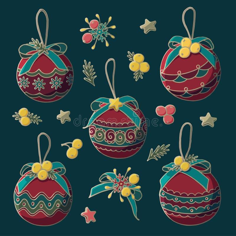 Jouets décoratifs d'arbre de Noël de vecteur avec des arcs, des étoiles et des baies illustration libre de droits