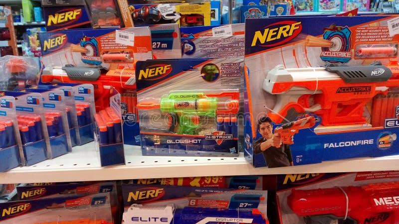 Jouets d'arme à feu de Nerf photographie stock libre de droits