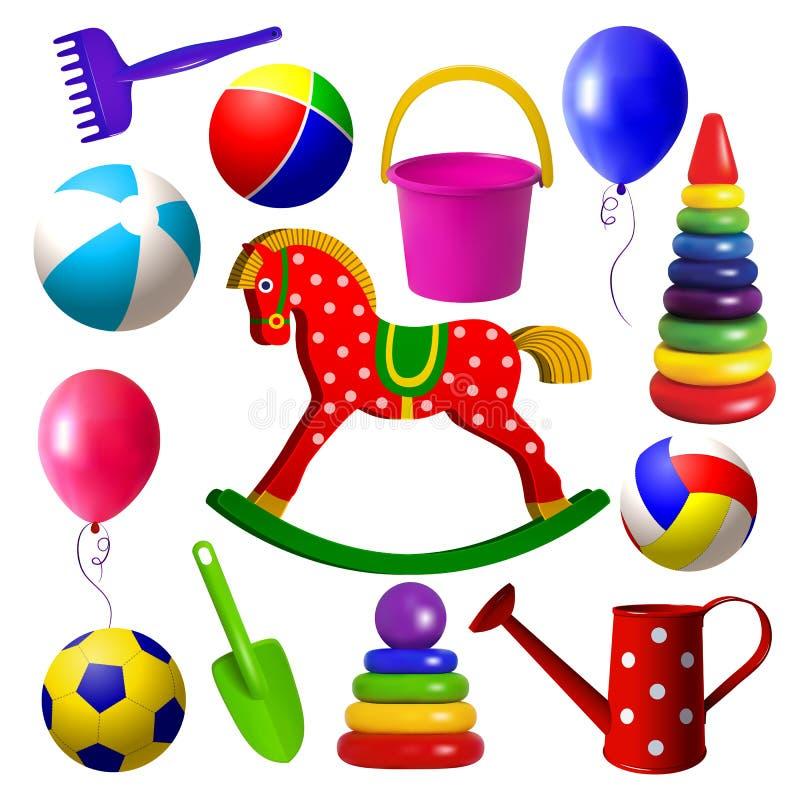 Jouets d'enfants Ensemble de jouets pour des enfants d'âge de petite enfance illustration stock