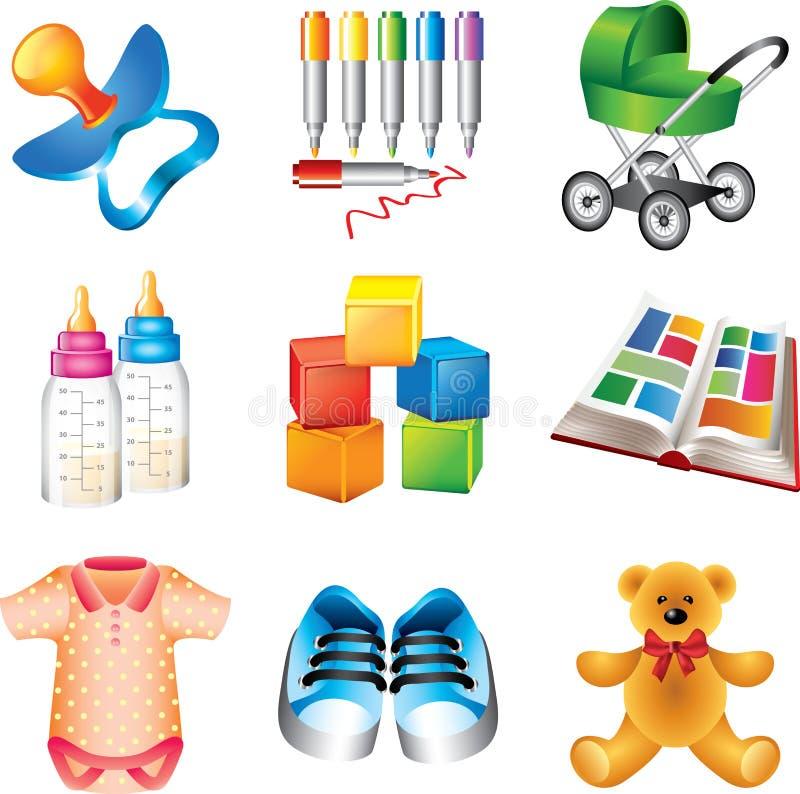 Jouets de bébé et icônes de choses illustration libre de droits