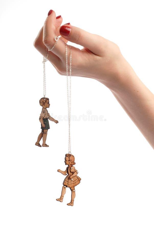 Jouets de marionnette de main de la femme images stock