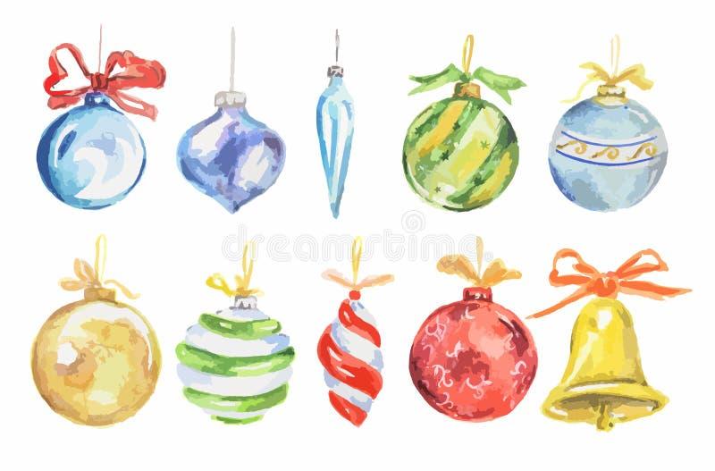 Jouets de Noël d'aquarelle réglés illustration stock