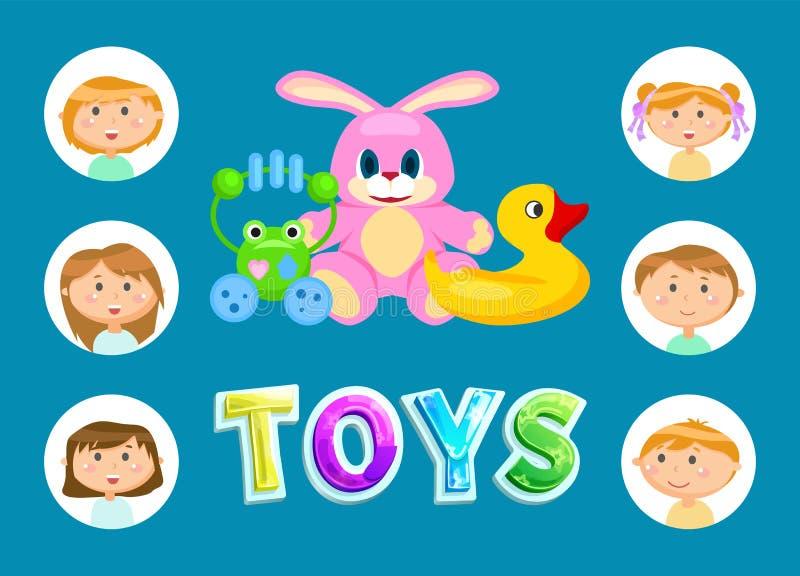 Jouets et enfants, enfants de jardin d'enfants ou enfants en bas âge illustration libre de droits