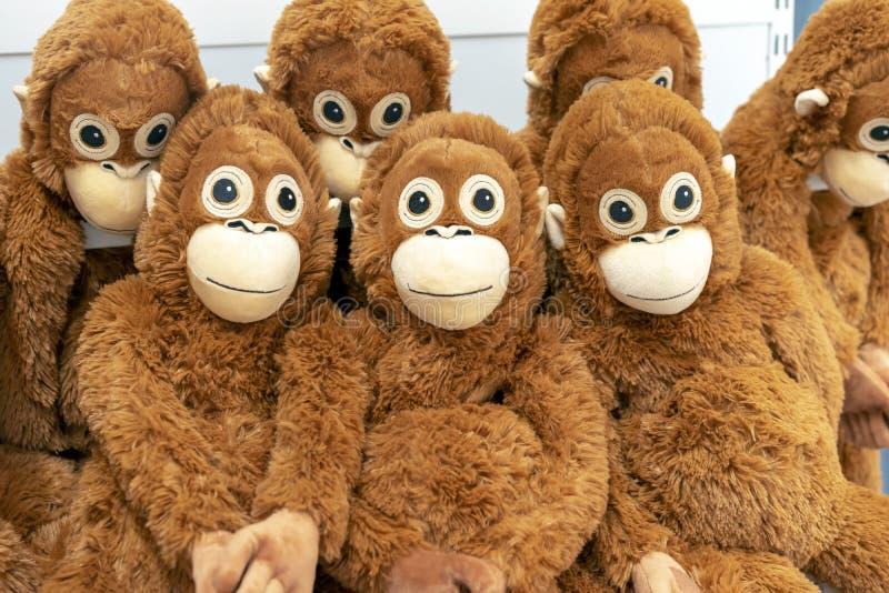 Jouets mous des singes oranges sur le compteur d'un magasin de jouet images libres de droits