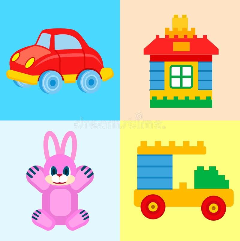 Jouets pour enfants pour des illustrations de temps de jeu réglées illustration stock
