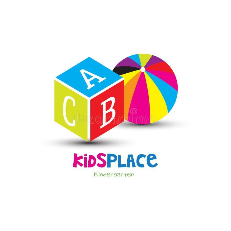 Jouets pour le logo de place d'enfants illustration de vecteur