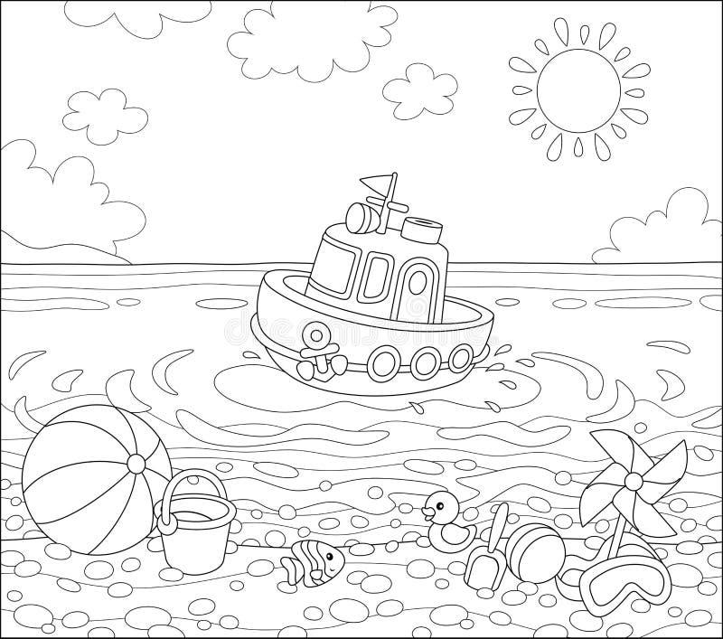Jouets sur une plage de mer illustration stock