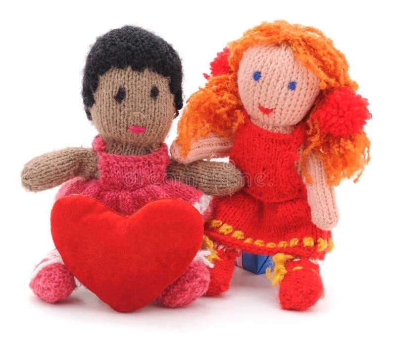 Jouets tricotés avec le coeur image libre de droits