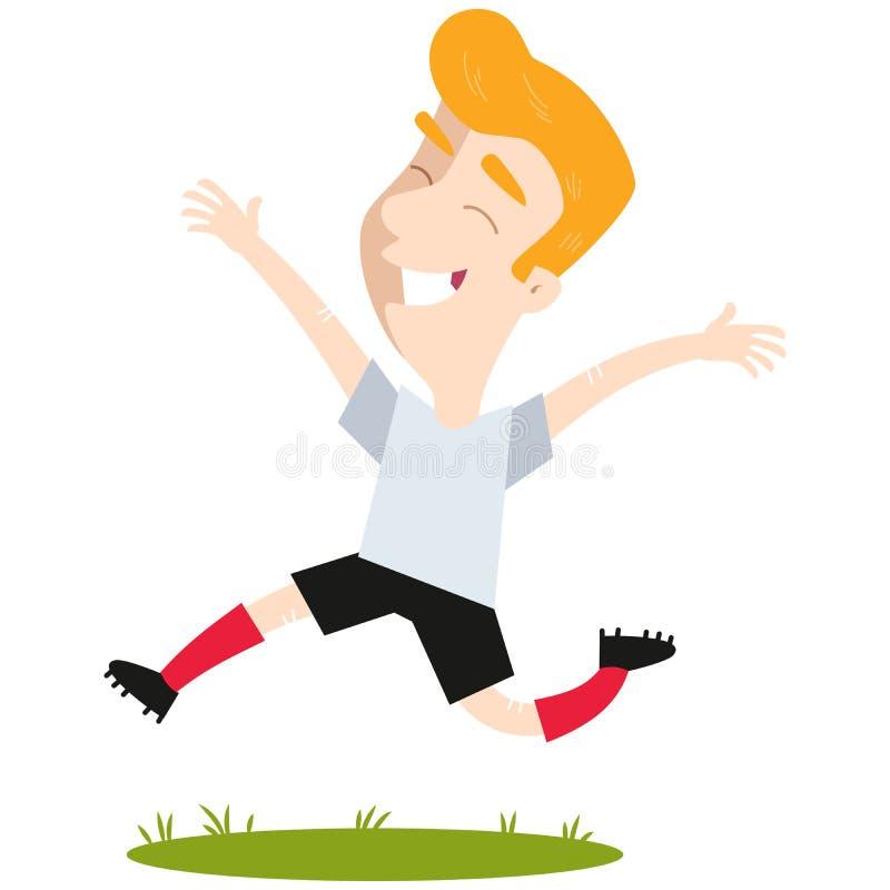 Joueur caucasien blond réussi de bande dessinée sautant joyeux illustration de vecteur