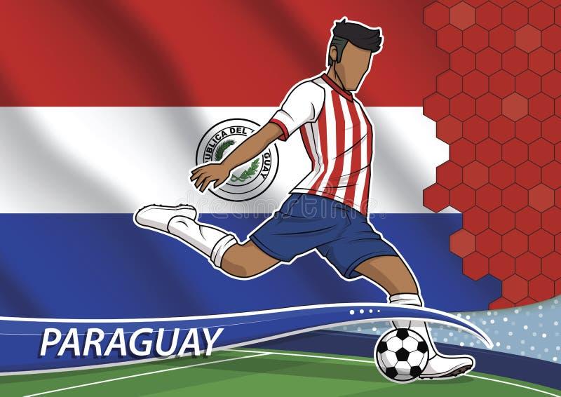 Joueur d'équipe du football au Paraguay uniforme illustration stock