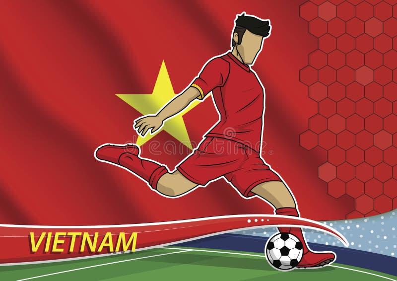 Joueur d'équipe du football dans l'uniforme avec le drapeau national d'état du Vietnam illustration de vecteur