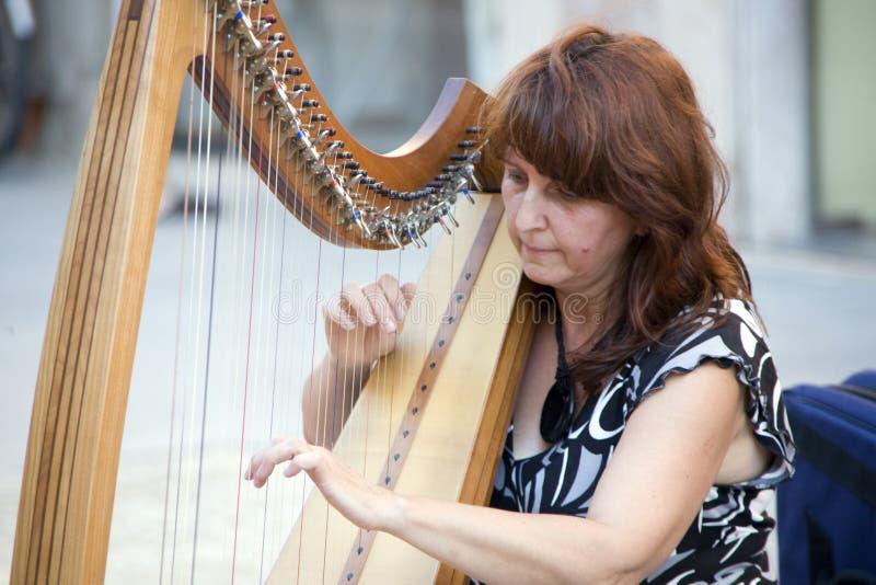 Joueur d'harpe au festival de buskers à Ferrare photographie stock libre de droits