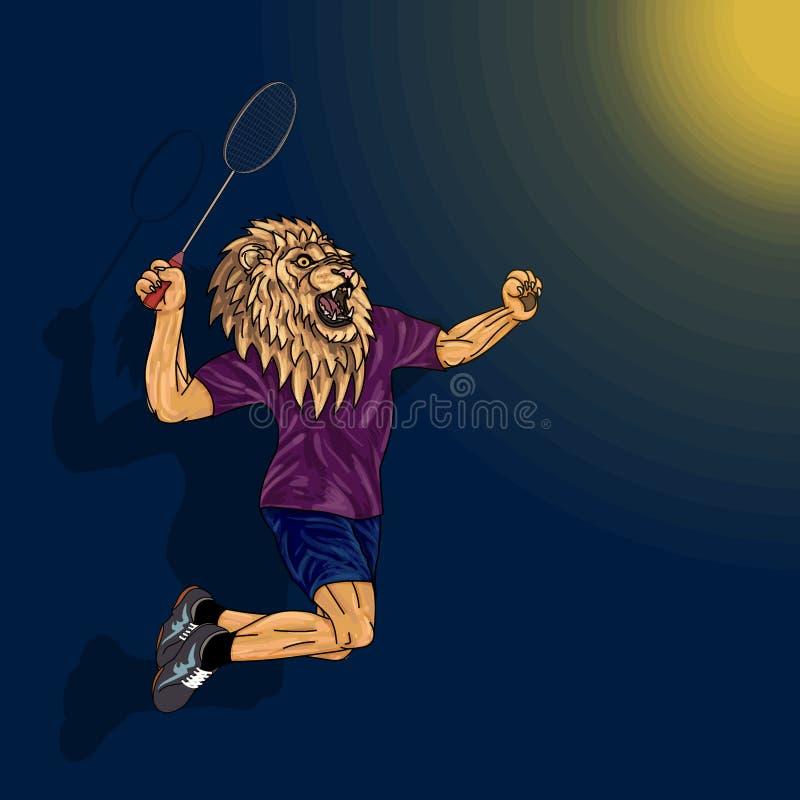 Joueur de badminton, lion au corps humain, sautant pour heurter le badminyon illustration stock