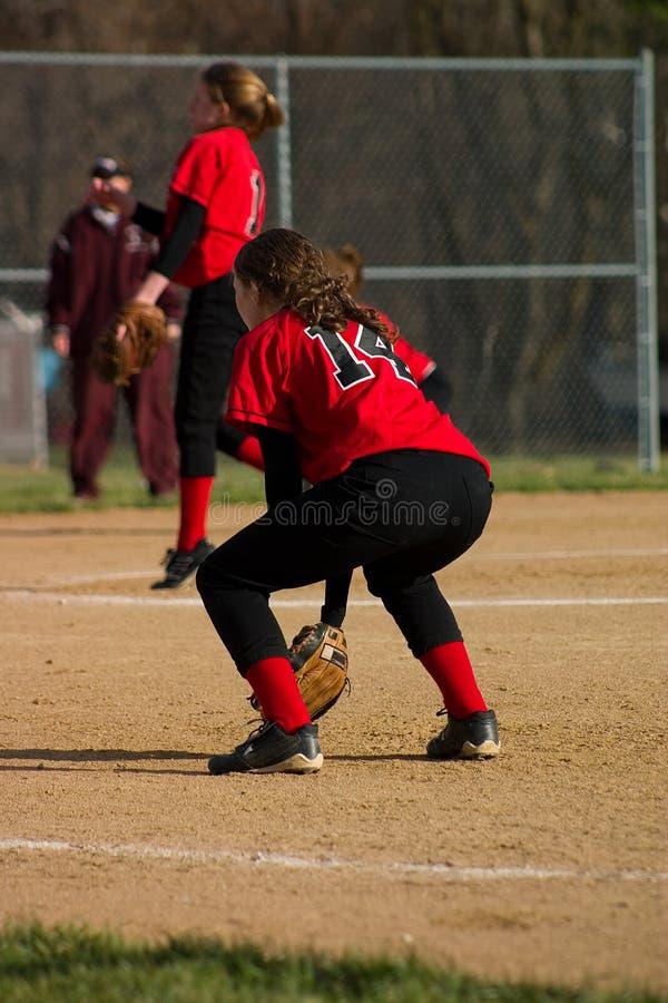 Joueur de base-ball féminin photo libre de droits