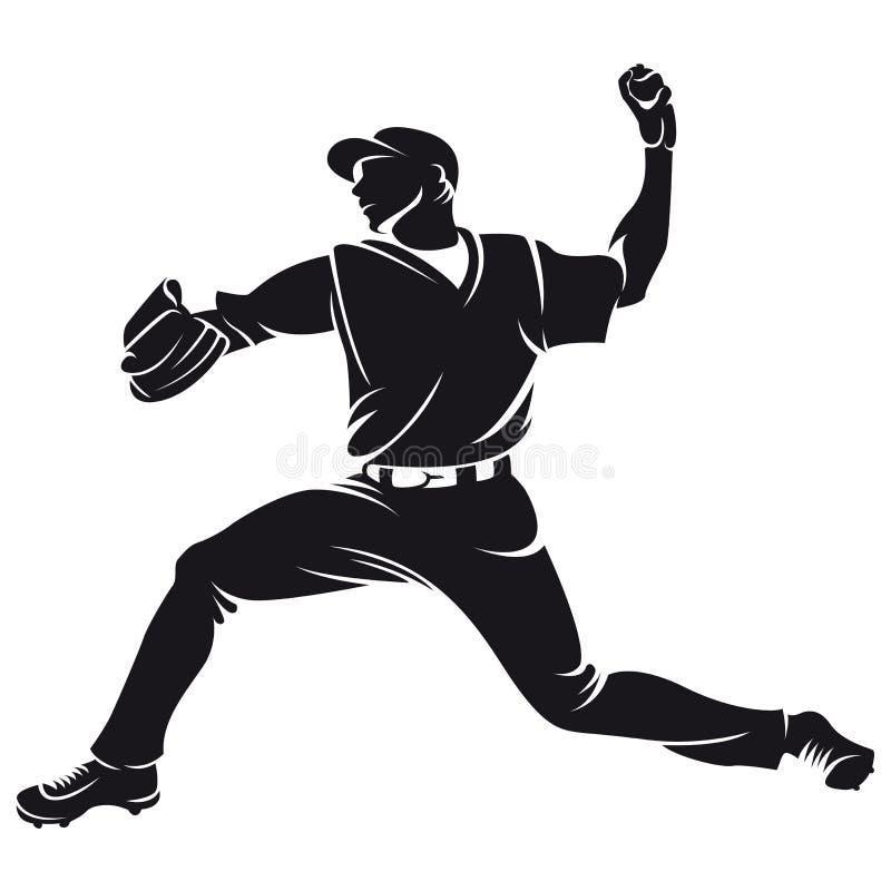 Joueur de base-ball, silhouette illustration libre de droits