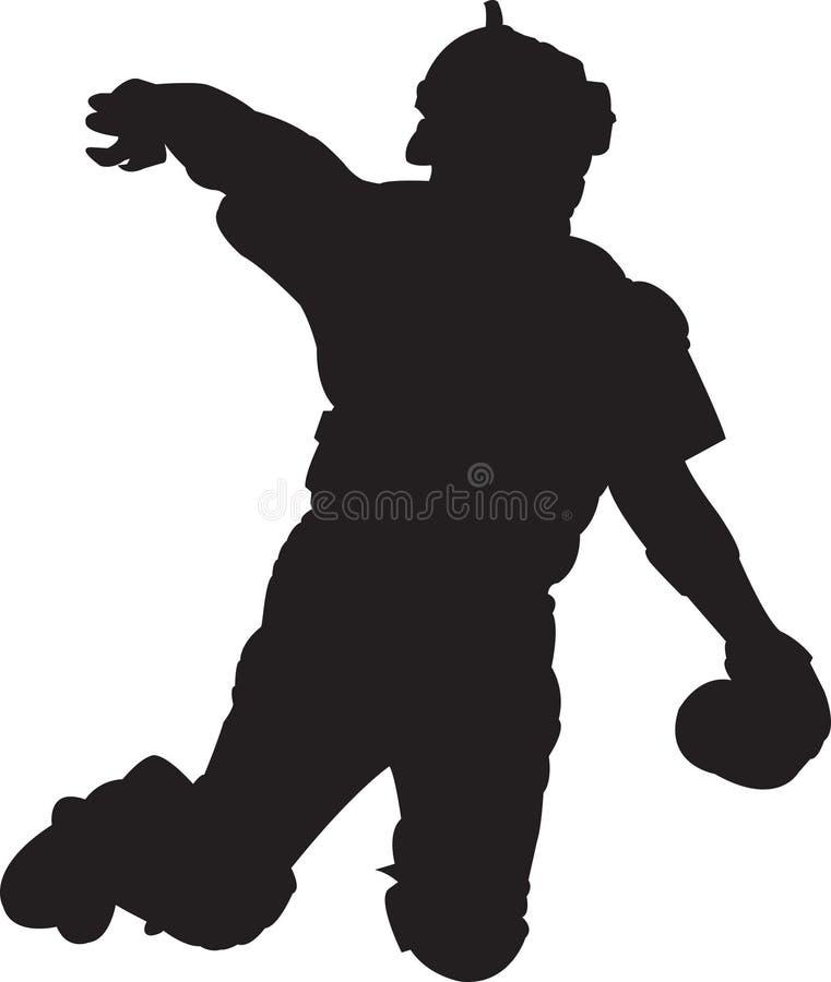 Joueur de baseball, attrapeur 01 illustration de vecteur