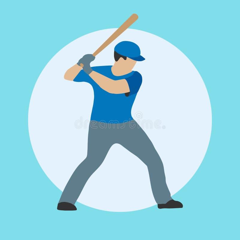 Joueur de baseball avec 'bat' illustration de vecteur