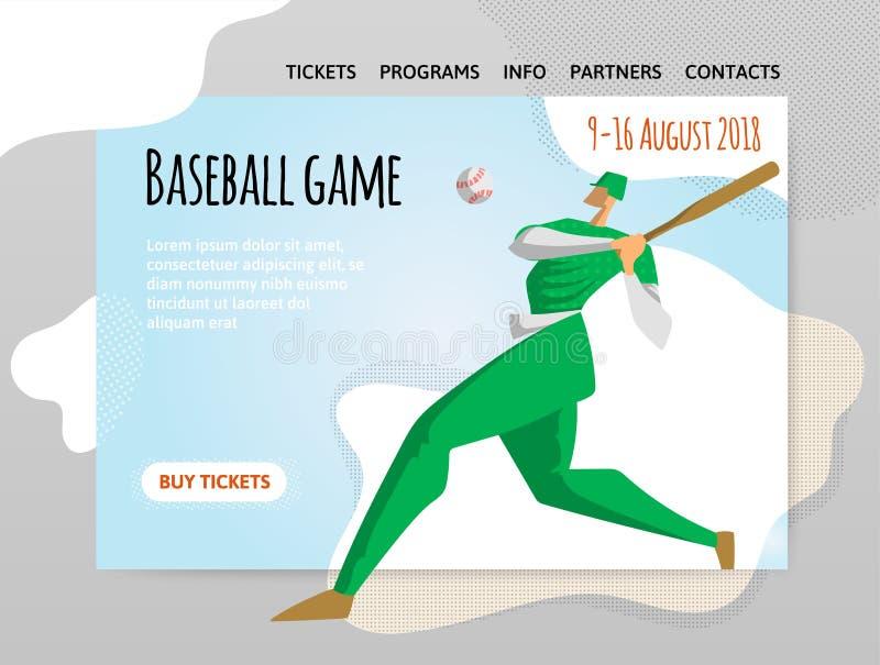 Joueur de baseball avec 'bat' Dirigez l'illutration, le calibre de conception du site de sport, l'en-tête, la bannière ou l'affic illustration libre de droits