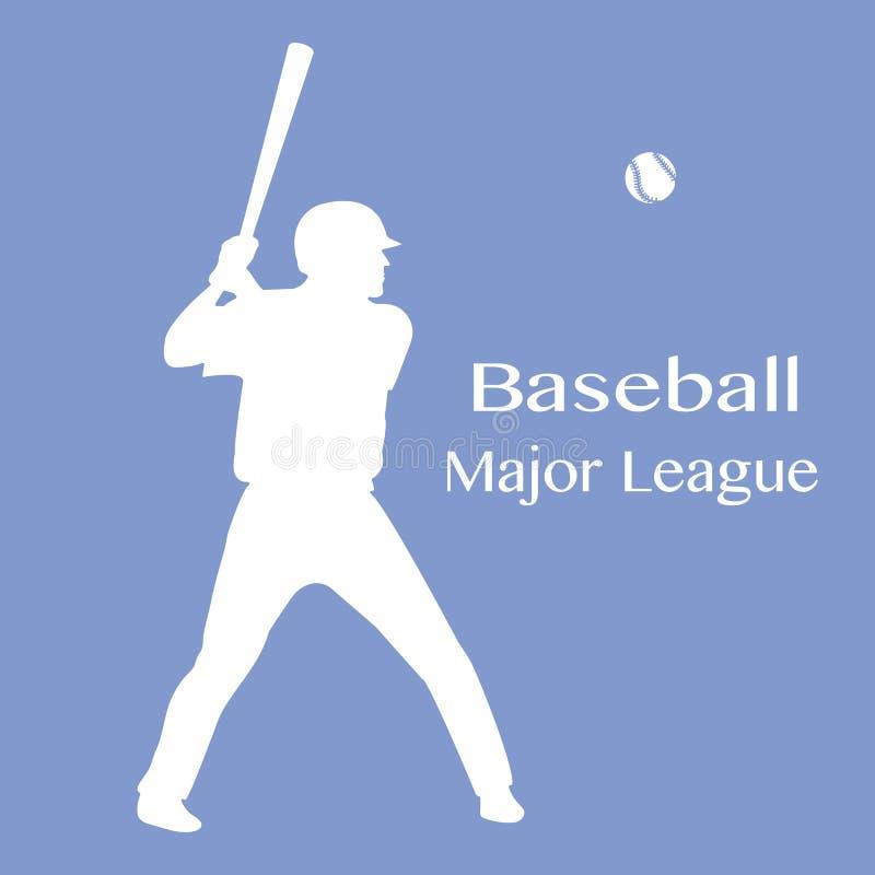 Joueur de baseball avec la batte, illustration de vecteur de boule illustration stock